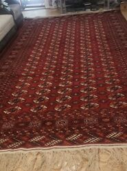 8' X 12' Genuine Handmade Turkmen Rug 100 Natural Wool Hand Knotted Red Color