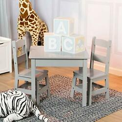 Melissa & Doug Kids Furniture Wooden Table & 2 Chairs - Gray