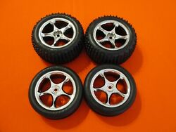 New Traxxas Bandit Set Of Alias Tires And Chrome Tracer Wheels Xl-5 Vxl Mounted