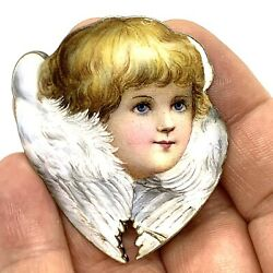 Antique Enamel Sterling Silver Hand Painted Angel Part Of Buckle
