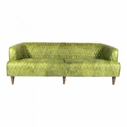 Moeand039s Home Magdelan Tufted Leather Sofa In Emerald