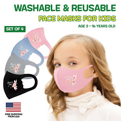 Kids Toddler Children Face Mask Reusable Washable Breathable 4 Pack Animal Mix $10.99