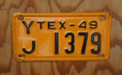 1949 Texas Motorcycle License Plate - High Quality