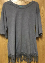 South Main Grey Fringed Wide 1/2 Sleeve Tunic L 10 12