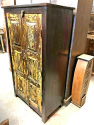 Rustic Hall Cabinet Armoire Carved Storage Furniture Resort Boutique Cottage