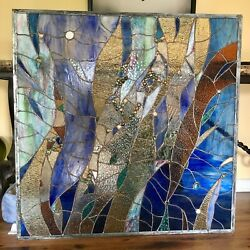 Abstract Stained Glass Transom Panel Window Contemporary Divider