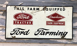 """Vtg 1950s Ford Tractor And Dearborn Farm Equipment Tin Sign 22"""" Ford Farming Rare"""