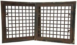 2 Victorian Antique Waffle Grid Cast Iron Grate Vent Cover Air Register 12