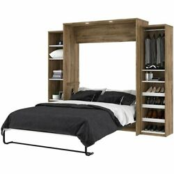 Bestar Cielo Classic 3 Piece Queen Wall Bed In Rustic Brown And White