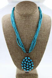 Navajo Sterling Silver Turquoise Cluster 6 Strand Heishi Necklace Signed Rw