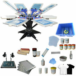 Big Full Set6 Color 6 Station Screen Printing Kit-18x24machine With Materials