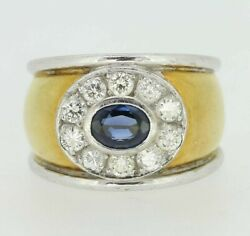 Gold Diamond Ring - 18ct Yellow Gold Sapphire And Diamond Ring Size I 1/2