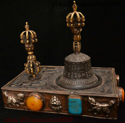 11 China Wood Silver Beeswax Gem Bronze Beast Dorje Vajra Bell And Holder Statue