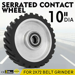 2x10 Serrated Rubber Contact Wheel For Belt Sander Grinder W/ 6206 Bearing