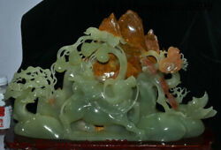 Chinese Stone Jade Carving Mountain Tree Flower Gourd Ox Boy Oxen Tong Zi Statue