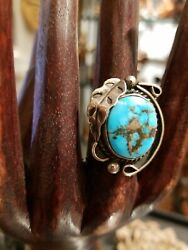 Vintage Navajo Turquoise Silver Ring Sz 8 Old Southwestern Native American