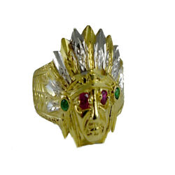 10k Solid Gold Native American Indian Apache Multi Color Created Gem Stone Ring