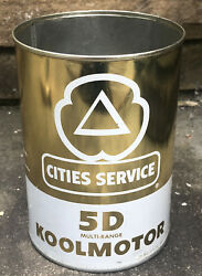 Vtg 1950s Cities Service 5d Koolmotor 1 Quart Oil Can Tin Rare Gas And Oil Station