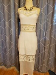 NWT French Connection Evening White Lucky Lace Midi Dress Sheer Size 4 $65.00