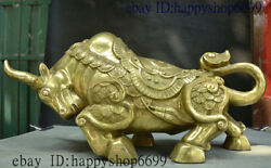 Collect Chinese Folk Brass Wealth Fengshui Zodiac Animal Oxen Bull Cattle Statue