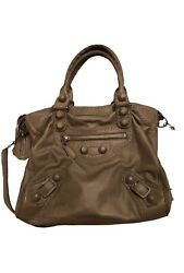 BALENCIAGA Beige Leather Giant Brogues MOTORCYCLE CITY Bag $340.00