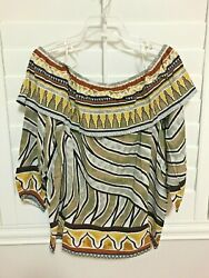 Chico#x27;s Tribal Border Mix Off The Shoulder Top 3 4 Sleeve top