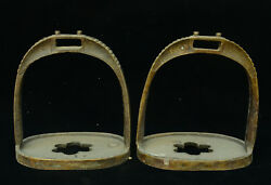 6 Collect Old China Dynasty Copper Bronze Rider Horse Pedal Stirrup Statue Pair