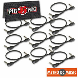 10-pack Pig Hog Low Profile Flat 12 Right-angle Patch Cable Cord Pedal 1 Ft New