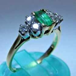 1.2ct Premium Natural Emerald 22k Yellow Gold Diamond Wedding Ring For Him And Her