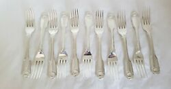 Antique Sterling Silver Dessert Forks.fiddle And Thread. London 1824.george Piercy