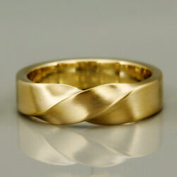 22 Kt Hallmark Real Solid Yellow Gold Mobius Wedding Band Menand039s Ring Size 8910