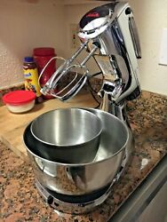 Vintage Chrome Sunbeam Mixmaster 12 Speed Stand Mixer With Beaters And Two Bowls