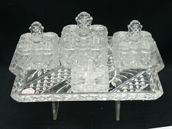 Antique Estate Of Audrey Meadows Art Deco Glass Vanity Dressing Table Tray Set