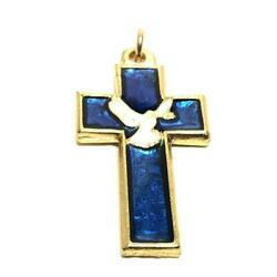 Blue Chi-rho Dove Cross - Brass And Enamel Crucifix - Blessed By Pope