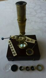 Signed Antique Brass Cary-gould Type Compound And Simple Microscope C1830