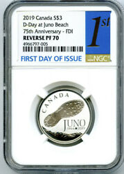 2019 3 Canada Silver Ngc Pf70 Reverse Proof D-day Juno Beach First Day Of Issue