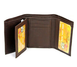 New Mens Brown Genuine Leather Trifold Wallet ID Window Credit Card Case Holder $6.13