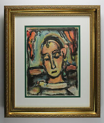 Cool 1939 Rouault Original Color Lithograph Head Of A Woman Signed Framed Coa