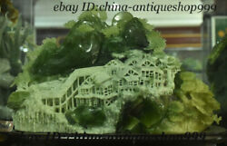 12 China Natural Yellow Jade Stone Carving Feng Shui Mountain Pine House Statue