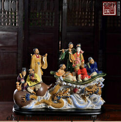 Chinese Color Porcelain Eight Immortals Pahsien 8 Celestial Being Dragon Statue