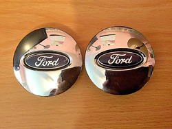 Two 2 Used Ford Chrome Black Emblem Wheel Center Hubcaps 6l24-1a096-aa Parts