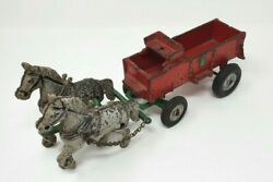 Vintage Arcade Toys Team Of Horses And Wagon Cast Iron