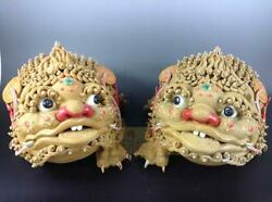 Folk China Ceramics Color Porcelain Animal Golden Toad Spittor Coin Statue Pair