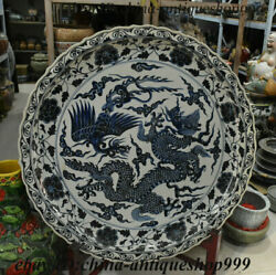 38 Chinese Blue And White Porcelain Dragon Phoenix Flower Plate Dish Fruit Tray