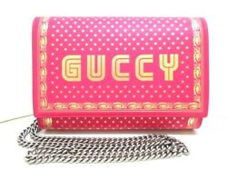 Auth GUCCI 524967 Pink Gold Leather Other Style Wallet