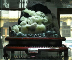 10 Old China 100 Natural Du Shan Jade Stone Carving Pine Mountain Floor Statue