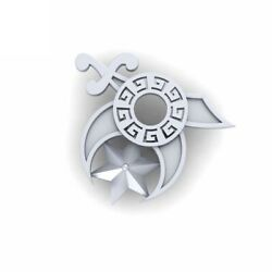 Shriners Logo Inspired Lapel Pin Sterling Silver Religious Wedding Accessories