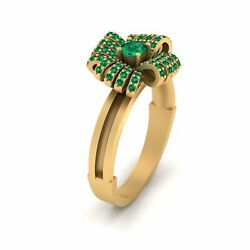 Green Emerald Bow Engagement Ring For Women Yellow Gold Bow Ring Wedding Jewelry