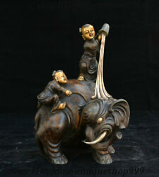 10 China Purple Bronze Gilt Elephant Heffalump Boy Kid Babe Child Bairn Statue