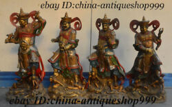17 Old China Bronze 4 Great Heavenly Kings Immortals Senior General Statue Set